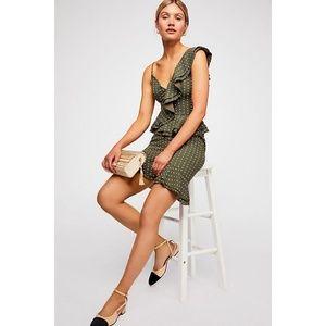 C/meo entice dot ruffle trim dress